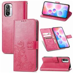 Embossing Imprint Four-Leaf Clover Leather Wallet Case for Xiaomi Redmi Note 10 Pro / Note 10 Pro Max - Rose Red