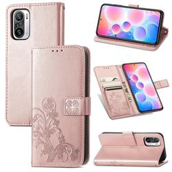 Embossing Imprint Four-Leaf Clover Leather Wallet Case for Xiaomi Redmi Note 10 Pro / Note 10 Pro Max - Rose Gold
