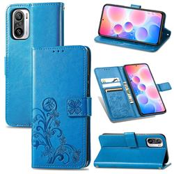 Embossing Imprint Four-Leaf Clover Leather Wallet Case for Xiaomi Redmi Note 10 Pro / Note 10 Pro Max - Blue