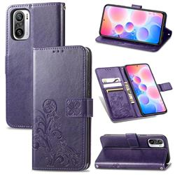 Embossing Imprint Four-Leaf Clover Leather Wallet Case for Xiaomi Redmi Note 10 Pro / Note 10 Pro Max - Purple