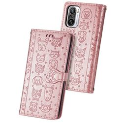 Embossing Dog Paw Kitten and Puppy Leather Wallet Case for Xiaomi Redmi Note 10 Pro / Note 10 Pro Max - Rose Gold