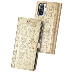 Embossing Dog Paw Kitten and Puppy Leather Wallet Case for Xiaomi Redmi Note 10 Pro / Note 10 Pro Max - Champagne Gold