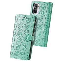 Embossing Dog Paw Kitten and Puppy Leather Wallet Case for Xiaomi Redmi Note 10 Pro / Note 10 Pro Max - Green