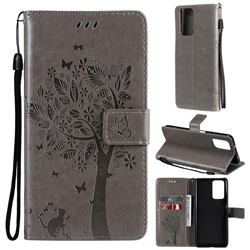 Embossing Butterfly Tree Leather Wallet Case for Xiaomi Redmi Note 10 Pro / Note 10 Pro Max - Grey