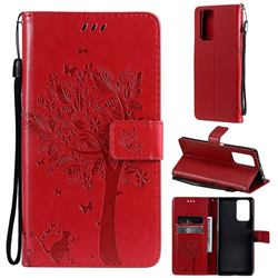Embossing Butterfly Tree Leather Wallet Case for Xiaomi Redmi Note 10 Pro / Note 10 Pro Max - Red