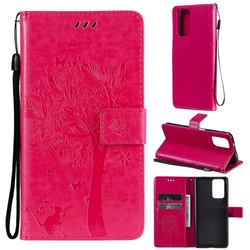 Embossing Butterfly Tree Leather Wallet Case for Xiaomi Redmi Note 10 Pro / Note 10 Pro Max - Rose