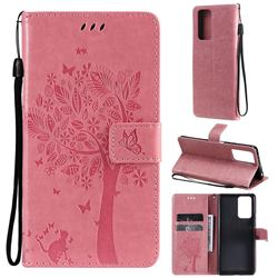 Embossing Butterfly Tree Leather Wallet Case for Xiaomi Redmi Note 10 Pro / Note 10 Pro Max - Pink