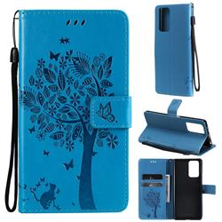 Embossing Butterfly Tree Leather Wallet Case for Xiaomi Redmi Note 10 Pro / Note 10 Pro Max - Blue