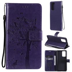 Embossing Butterfly Tree Leather Wallet Case for Xiaomi Redmi Note 10 Pro / Note 10 Pro Max - Purple