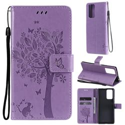 Embossing Butterfly Tree Leather Wallet Case for Xiaomi Redmi Note 10 Pro / Note 10 Pro Max - Violet