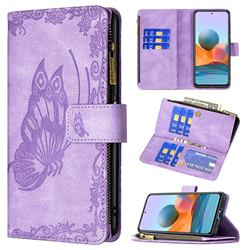 Binfen Color Imprint Vivid Butterfly Buckle Zipper Multi-function Leather Phone Wallet for Xiaomi Redmi Note 10 Pro / Note 10 Pro Max - Purple