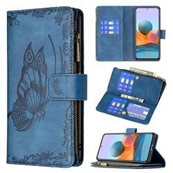 Binfen Color Imprint Vivid Butterfly Buckle Zipper Multi-function Leather Phone Wallet for Xiaomi Redmi Note 10 Pro / Note 10 Pro Max - Blue