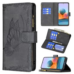 Binfen Color Imprint Vivid Butterfly Buckle Zipper Multi-function Leather Phone Wallet for Xiaomi Redmi Note 10 Pro / Note 10 Pro Max - Black