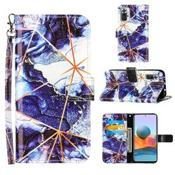 Starry Blue Stitching Color Marble Leather Wallet Case for Xiaomi Redmi Note 10 Pro / Note 10 Pro Max