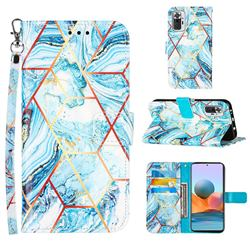 Lake Blue Stitching Color Marble Leather Wallet Case for Xiaomi Redmi Note 10 Pro / Note 10 Pro Max
