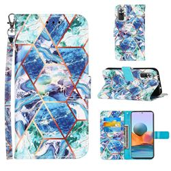 Green and Blue Stitching Color Marble Leather Wallet Case for Xiaomi Redmi Note 10 Pro / Note 10 Pro Max