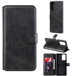 Retro Calf Matte Leather Wallet Phone Case for Xiaomi Redmi Note 10 Pro / Note 10 Pro Max - Black