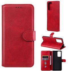 Retro Calf Matte Leather Wallet Phone Case for Xiaomi Redmi Note 10 Pro / Note 10 Pro Max - Red