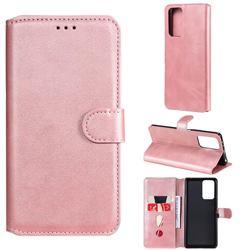 Retro Calf Matte Leather Wallet Phone Case for Xiaomi Redmi Note 10 Pro / Note 10 Pro Max - Pink