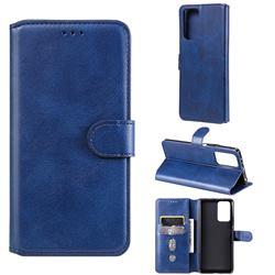 Retro Calf Matte Leather Wallet Phone Case for Xiaomi Redmi Note 10 Pro / Note 10 Pro Max - Blue