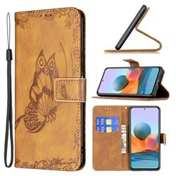 Binfen Color Imprint Vivid Butterfly Leather Wallet Case for Xiaomi Redmi Note 10 Pro / Note 10 Pro Max - Brown