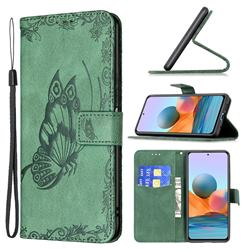 Binfen Color Imprint Vivid Butterfly Leather Wallet Case for Xiaomi Redmi Note 10 Pro / Note 10 Pro Max - Green