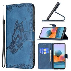 Binfen Color Imprint Vivid Butterfly Leather Wallet Case for Xiaomi Redmi Note 10 Pro / Note 10 Pro Max - Blue
