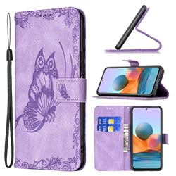 Binfen Color Imprint Vivid Butterfly Leather Wallet Case for Xiaomi Redmi Note 10 Pro / Note 10 Pro Max - Purple