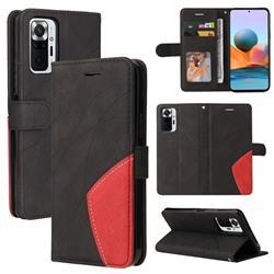 Luxury Two-color Stitching Leather Wallet Case Cover for Xiaomi Redmi Note 10 Pro / Note 10 Pro Max - Black