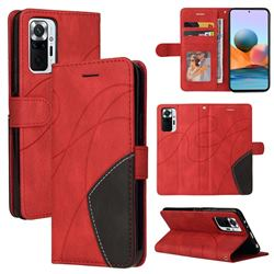 Luxury Two-color Stitching Leather Wallet Case Cover for Xiaomi Redmi Note 10 Pro / Note 10 Pro Max - Red