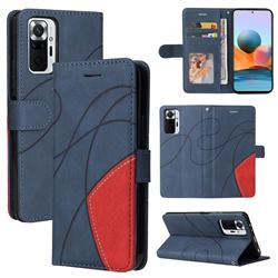 Luxury Two-color Stitching Leather Wallet Case Cover for Xiaomi Redmi Note 10 Pro / Note 10 Pro Max - Blue
