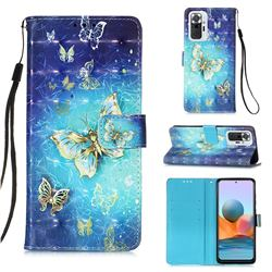 Gold Butterfly 3D Painted Leather Wallet Case for Xiaomi Redmi Note 10 Pro / Note 10 Pro Max
