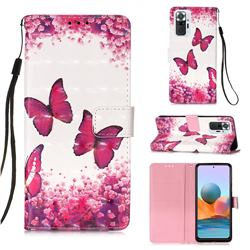 Rose Butterfly 3D Painted Leather Wallet Case for Xiaomi Redmi Note 10 Pro / Note 10 Pro Max