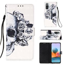 Skull Flower 3D Painted Leather Wallet Case for Xiaomi Redmi Note 10 Pro / Note 10 Pro Max