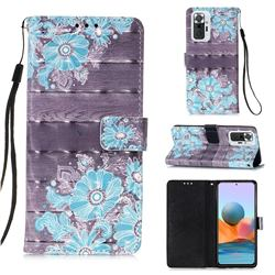 Blue Flower 3D Painted Leather Wallet Case for Xiaomi Redmi Note 10 Pro / Note 10 Pro Max