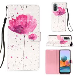 Watercolor 3D Painted Leather Wallet Case for Xiaomi Redmi Note 10 Pro / Note 10 Pro Max