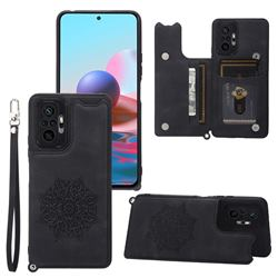 Luxury Mandala Multi-function Magnetic Card Slots Stand Leather Back Cover for Xiaomi Redmi Note 10 Pro / Note 10 Pro Max - Black
