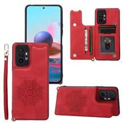 Luxury Mandala Multi-function Magnetic Card Slots Stand Leather Back Cover for Xiaomi Redmi Note 10 Pro / Note 10 Pro Max - Red