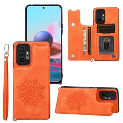 Luxury Mandala Multi-function Magnetic Card Slots Stand Leather Back Cover for Xiaomi Redmi Note 10 Pro / Note 10 Pro Max - Yellow