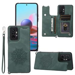 Luxury Mandala Multi-function Magnetic Card Slots Stand Leather Back Cover for Xiaomi Redmi Note 10 Pro / Note 10 Pro Max - Green