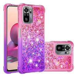 Rainbow Gradient Liquid Glitter Quicksand Sequins Phone Case for Xiaomi Redmi Note 10 4G / Redmi Note 10S - Pink Purple