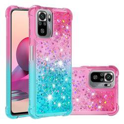Rainbow Gradient Liquid Glitter Quicksand Sequins Phone Case for Xiaomi Redmi Note 10 4G / Redmi Note 10S - Pink Blue