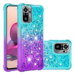 Rainbow Gradient Liquid Glitter Quicksand Sequins Phone Case for Xiaomi Redmi Note 10 4G / Redmi Note 10S - Blue Purple