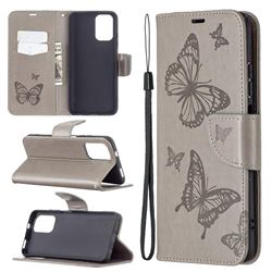 Embossing Double Butterfly Leather Wallet Case for Xiaomi Redmi Note 10 4G / Redmi Note 10S - Gray
