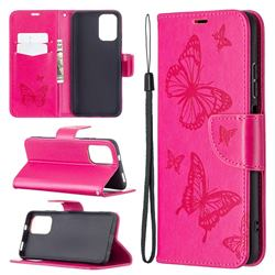 Embossing Double Butterfly Leather Wallet Case for Xiaomi Redmi Note 10 4G / Redmi Note 10S - Red