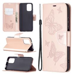 Embossing Double Butterfly Leather Wallet Case for Xiaomi Redmi Note 10 4G / Redmi Note 10S - Rose Gold