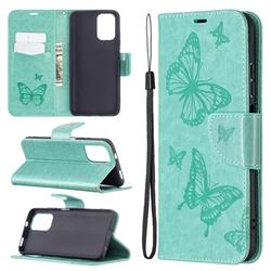Embossing Double Butterfly Leather Wallet Case for Xiaomi Redmi Note 10 4G / Redmi Note 10S - Green