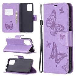 Embossing Double Butterfly Leather Wallet Case for Xiaomi Redmi Note 10 4G / Redmi Note 10S - Purple