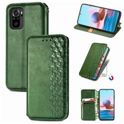 Ultra Slim Fashion Business Card Magnetic Automatic Suction Leather Flip Cover for Xiaomi Redmi Note 10 4G / Redmi Note 10S - Green