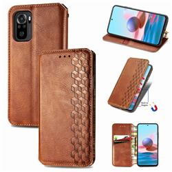 Ultra Slim Fashion Business Card Magnetic Automatic Suction Leather Flip Cover for Xiaomi Redmi Note 10 4G / Redmi Note 10S - Brown
